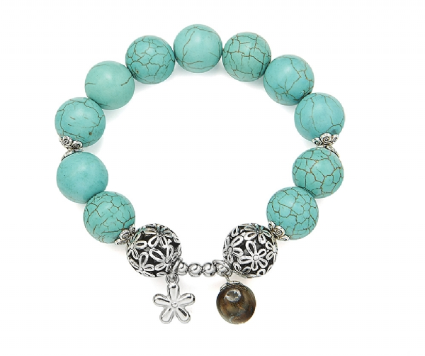Natural turquoise stone bracelet with charms